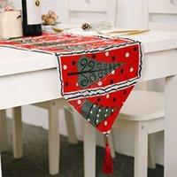180 * 35cm de Noël Chemin de Table Coton et Lin Nappe Table de Noël Drapeau Fête de Noël Table de bureau Décoration Fournitures 2020 D9807