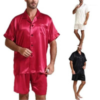 2Pcs Sets Fashion Button Mens Pajamas set Casual Males Sets Summer Designer Solid Stand Collar Mens