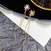 Золотые серьги для женщин стерлингового серебра 925 Обруч модельера ювелирных изделий Statement кисточкой корейской Длинные серьги