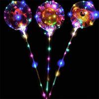 24 дюйма гелия прозрачный светодиодный воздушный шар мигает бобо воздушный шар с наклейками мультфильм шар перья блестит для украшения фестиваля
