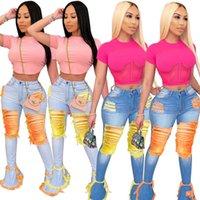 Femmes Bell Bottel Jeans Denim Épasé Pantalons long pantalons Pantalons Sexy Hole déchiré Longueur Full Longueur Leggings Bodycon Streetwear Vêtements élégants