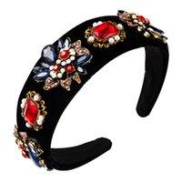 Élégant baroque multicolore de fleurs en cristal Bandeau Femme Vintage Simulé Perle Hairband Parti Femme Couvre-chef Coiffes