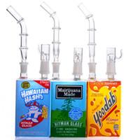 Bécher jus Bong Boîte Rigs huile Bongs Pipes eau en verre épais eau Bong Heady Dab fumeurs tuyaux, avec 14mm Bowl narguilés