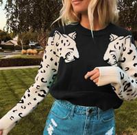 Leopard Muster Damen Pullover Casual Patchwork Elastizität Damen strickt Top Herbst Winter Langarm O Hals Frauen Pullover
