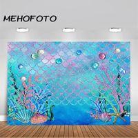 Materiał tła Mehofoto pod morzem Blue Pography Backdrop Ocean Mermaid Theme Girl Birthday Party Decoration Po