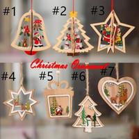 2020 Фото Новогодние украшения украшения Деревянные елки Маленький кулон деревянный пятиконечная звезда Bell Подвеска Подарок для Ребенка FY7172