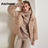 Aachoae Casual Solid Woman Parkas Batwing Long Sleeve Loose Pocket Coat Lady Stand Collar Warm Outwear Winter Autumn Ropa Mujer