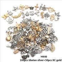 150pcs Vintage Gioielli Accessory Charms Mix KC Gold e Tibetan Silver Gufo Gufo Cross Earring Risultatori Braccialetto Accessori per la vendita all'ingrosso