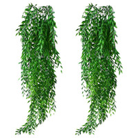 Botique- 2Pcs Artificial Hanging Plants Garland Fake Willow L...