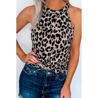 womens designerShiying léopard caraco femme T-shirt col rond base européenne supérieure de type I