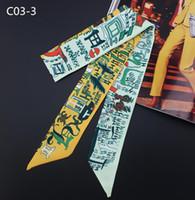 Progettazione del sacchetto di mano delle sciarpe delle donne piccola sciarpa di seta fazzoletto Nastro cintura foulard colorato lettera Stampa Handle Bag nastro Sciarpe Wraps