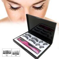 8pcs Magnetic Eyelashes With 3 Magnets Handmade 3D Lashes Natural False Eyelashes And Tweezers Magnet Lashes With Gift Box