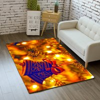 Merry Christmas Rug Carpet Cartoon Bedroom Kids Play Mat Soft Non slip Xmas Bell Area Rugs Bedside Gold Carpets for Living Room