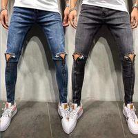 Мужские джинсы мужской молнии дизайн синий серый мотоцикл промытые джинсовые брюки скинни карандаш