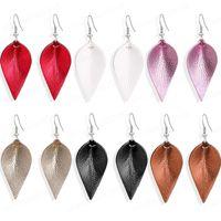 Ohrringe Neue Art und Weise Faux-Leder-Ausschnitt-Blatt-Feder Teardrop baumeln Ohrringe für Frauen Designer Schmuck-Party-Geschenke en gros