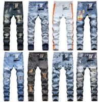 Clásico retro diseñador pantalones vaqueros pantalones largos - agujero angustiado impreso recto rasgado de algodón pantalones hombres homme