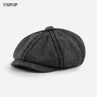 Berets USPOP PARA Homens Vintage Octagonal Cap Masculino Outono Inverno Sboy Tampas