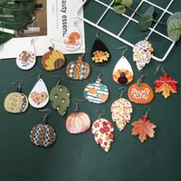 Calabaza de cuero pendientes de las mujeres de Halloween pendientes de la manera cuelga los pendientes de la vendimia Gotas Gotas para los regalos de las muchachas libera YFA2558