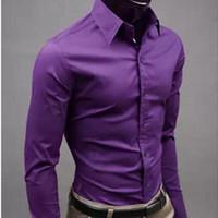 Camisas casuales para hombres BRSR Moda Color de caramelo Camisa de manga larga Hombre 2021 Primavera y otoño Slim Solid