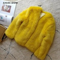 Winter V neck Hairy Shaggy Yellow Faux Coat Long sleeve Furr...