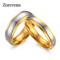 Gioielli ZORCVENS nuovo modo suo del suo anello Banda lucidatura Centro Passo bordo del carburo di tungsteno di nozze per Donne Uomini