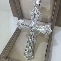 14K 골드 롱 다이아몬드 크로스 펜던트 925 스털링 실버 파티 웨딩 펜던트 여성을위한 목걸이 Moissanite 쥬얼리 선물