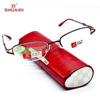 Sonnenbrillen = Scober Gafas de Lectura PU High Class Boxed Frauen Nichtkugel Titan Legierung Lesebrille +1 +1,5 +2 +2,5 +3 +3,5 +4