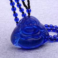 Ketten Natürliche weiße Kristall Glück Glück Halskette Blau Buddha Kopf Maitreya Pulloverkette