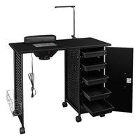 Waco Salon Manicure Nail Art Table Station, equipamento de móveis de beleza profissional, estrutura de aço com gaveta LED lâmpada, preto