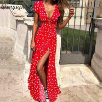 WENYUJH Women Polka Dot High Split Dress Summer Sexy V-neck Beach Boho Dress Short Sleeve Sashes Maxi Long Dresses Plus Size