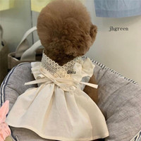 JH fatto a mano cotone e lino Pet Dress coreano estate e l'autunno nuovo merletto Scollo a V Dog Skirt Pet Dog Clothes