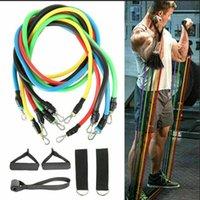 11 unids / set Pull Rope Fitness Ejercicios de fitness Bandas de resistencia Tubos de látex Pedal Excerciser Cuerpo Entrenamiento Entrenamiento Elástico Yoga Banda FY7007