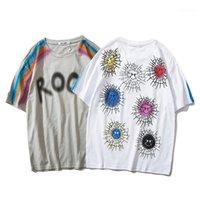 Tees High Street Moda Yuvarlak Yaka Kısa Kollu Streetwear Erkek Giyim Erkek Tasarımcı Çiçek Tshirts Erkekler Kadınlar Çift Baskılı Casual