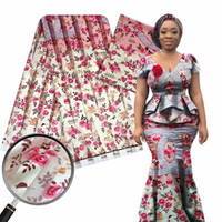 paillettes merletto del organza tessuto di seta stretch in raso di seta tessuto chiffon 4 yards + 2yards tessuto africano della cera per il patchwork ankara vestito cucito