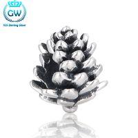 Ander zilver 925 Pinecone Charms Past Pan Armband op Kerstdag Charme Kralen DIY Sieraden Maken Merk GW T095-25