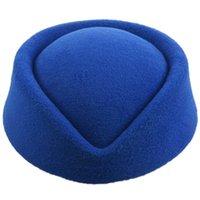 Bérets élégant laine feutre pillbox airbox de l'air hôtesse de béret chapeau de béret casquette de base (bleu)
