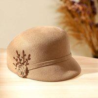 Bereler Beckyruiwu Sonbahar ve Kış İnciler Yün Bere Kap Kadın Sekizgen Şapkalar Lady Parti Moda 100% Yün Keçe Sboy Caps 1033