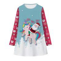 اللباس بنات طباعة جديد عيد الميلاد الفضاء يونيكورن الرقمية 'اللباس عصري كم طويل الأطفال الخريف ثوب الشتاء