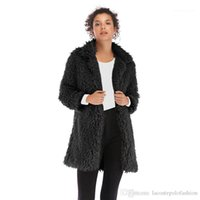 Brasão Womens Long Sleeve Magro Donna Velo Casual roupa morna Designer Womens Faux Fur Moda Sólidos