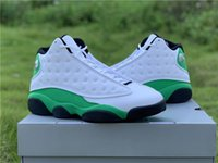High Air Authentic 13 Lucky Green Men Basketball Shoes White Black 3M Reflective Real Carbon Fiber Sneakers DB6537-113 With Box