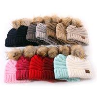 Зимние шапки Детские пухом Бал моды Марка вязаную шапочку для детей согреться зимой Шерсть Beanie Caps