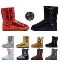 botas de inverno HOT Mulheres Botas Glitter Lantejoula WGG clássico designer de neve Ankle Mini curto Joelho Sparkles Botão Bling inicialização direta