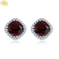 Hutang rosso granato 925 Orecchini Argento per le donne gemma genuina Sterling Silver Belle elegante classico dei monili per il regalo
