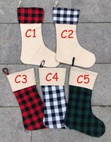 Red Plaid Weihnachtsstrumpf Cotton Büffel Flanell Black Christmas Stockings Christmas Decor Poly Sublimation Rohlinge Weihnachtsstrümpfe 777