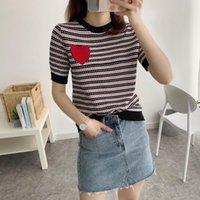 Kadınlar Ç Boyun Sıcak Sondaj Kırmızı Aşk Çizgili Örme T Gömlekler Siyah Mavi B-090 Lüks Tasarımcı Yaz Örme Üst