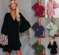 Col en V manches Flare Automne Femmes Designer Vêtements élégant Casual dames en vrac vacances Robes Ruffle Patchwork Tassel Robes Femmes Sexy