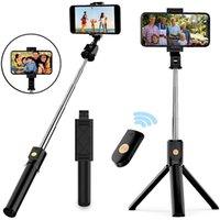 Ausziehbare faltbare Einbeinstativ Stativ mit Bluetooth Selfie-Stick mit drahtloser Fernbedienung für iPhone und Android Smartphone