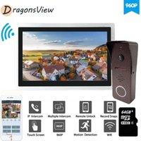 Teléfonos de la puerta de video Dragonsview WiFi Teléfono 10 pulgadas Smart Touch Pantalla inalámbrica Intercomunicador 960P Movimiento Detectar Soporte de desbloqueo