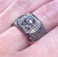 1CT Solid 925 Sterling Silver Anniversary Moissanite Sona Diamond Ring Anello di fidanzamento Band Open Ring Gioielli Uomini Dimensione regalo Regolabile