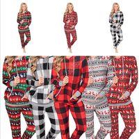 Winter-Frauen WeihnachtsPlaid-Elk Hoodiesatz mit Kapuze Bluse Tops Big Pocket-Sweatshirt und Hose Anzug Winter Pyjamas Kleidung Set D9805